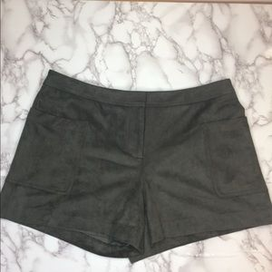 Vince Camuto olive green faux suede shorts